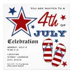 4th of July Patriotic American Flag Flip Flops Personalised Invitations