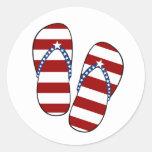 4th of July Patriotic American Flag Flip Flops Sticker