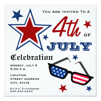4th of July Patriotic American Flag Sunglasses 13 Cm X 13 Cm Square Invitation Card