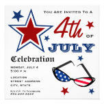 4th of July Patriotic American Flag Sunglasses Personalized Invitations