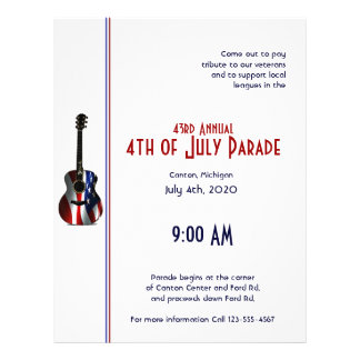 4th of July Patriotic Flag Guitar 21.5 Cm X 28 Cm Flyer