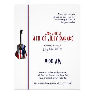 4th of July Patriotic Flag Guitar 21.5 Cm X 28 Cm Flyer