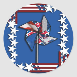 4th of July Patriotic Pin Wheel Stickers