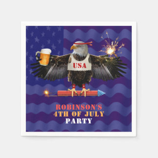 4th of July Patriotic USA Eagle Beer and Fireworks Disposable Serviette