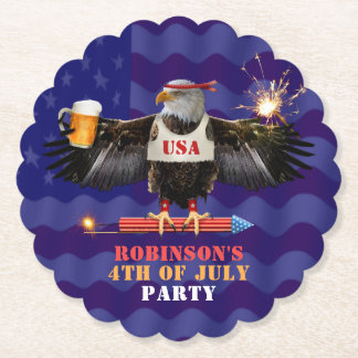4th of July Patriotic USA Eagle Beer and Fireworks Paper Coaster
