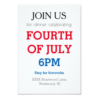 4th of July personalized insert template 9 Cm X 13 Cm Invitation Card