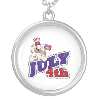 4th Of July Puppy Round Pendant Necklace