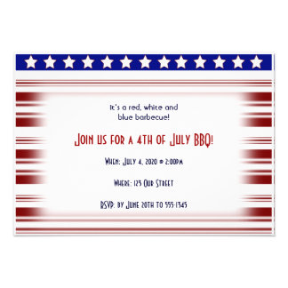 4th of July Red White and Blue Candystripe Custom Invitation