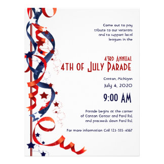 4th of July Red White and Blue Ribbons and Stars 21.5 Cm X 28 Cm Flyer