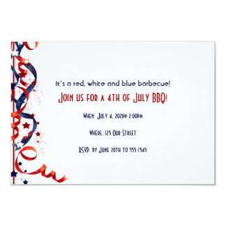 4th of July Red White and Blue Ribbons and Stars Card