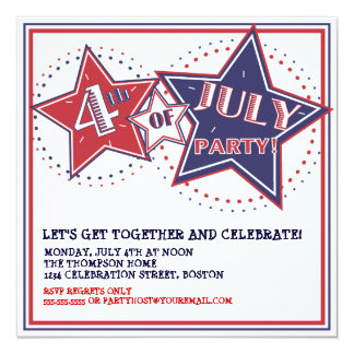 4th of July Red White Blue Stars Party Invitation