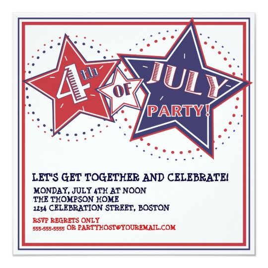 4th of July Red White Blue Stars Party