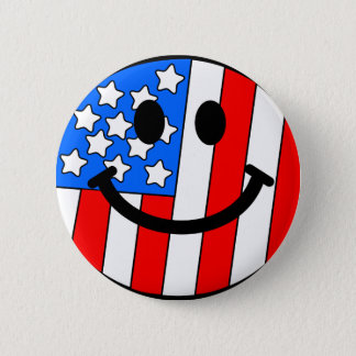 4th of July Smiley 6 Cm Round Badge
