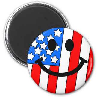 4th of July Smiley 6 Cm Round Magnet