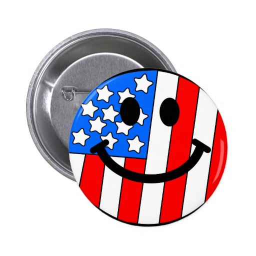 4th of July Smiley Pinback Buttons