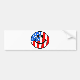 4th of July Smiley Bumper Sticker