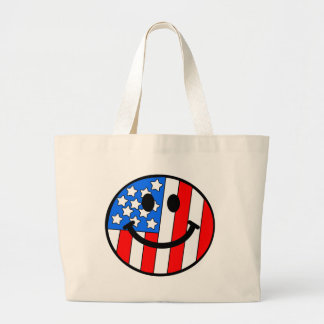 4th of July Smiley Large Tote Bag