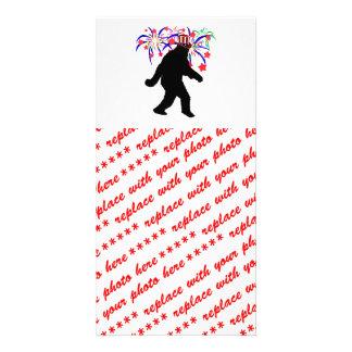4th of July Squatchin' w/Fireworks Custom Photo Card