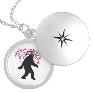 4th of July Squatchin' w/Fireworks Round Locket Necklace