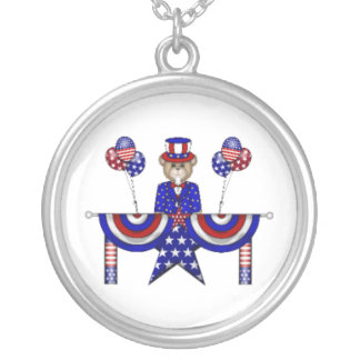 4th of July Teddy President Round Pendant Necklace