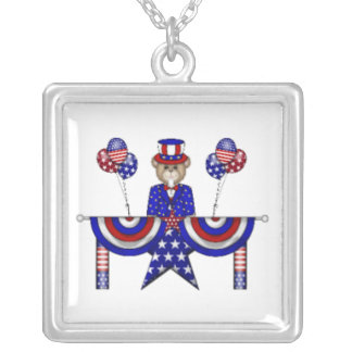 4th of July Teddy President Square Pendant Necklace