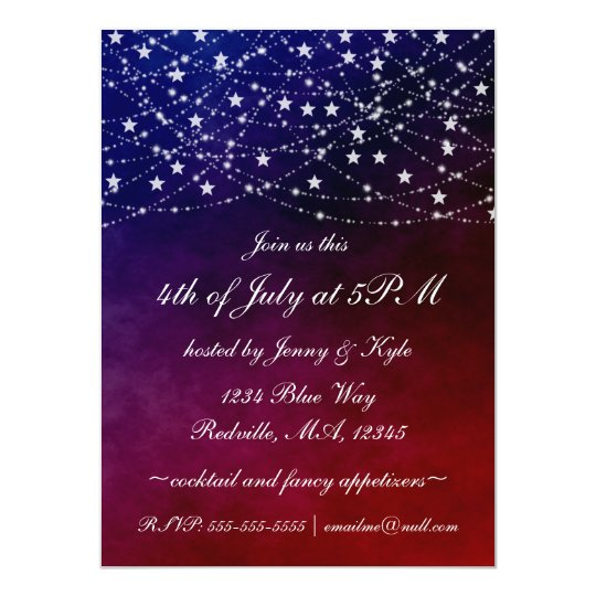 4th of July Twinkle Lights Stars Party Invitations