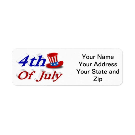 4th of July Uncle Sam Hat 3D Labels