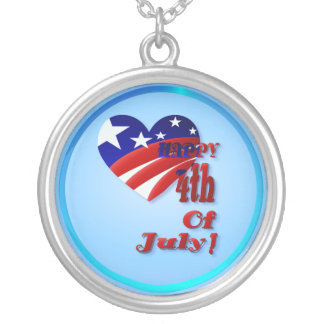 4th Of July US Heart  Necklace
