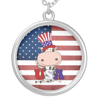 4th Of July USA Cow Round Pendant Necklace