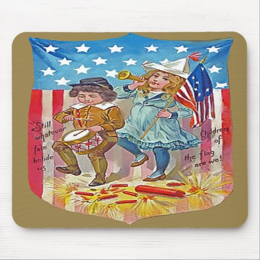 4th of july vintage kids mouse pads