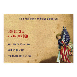 4th of July Vintage Liberty Girl with U S Flags Custom Announcements