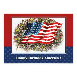 4th of July Vintage Patriotic Design Flat Cards 13 Cm X 18 Cm Invitation Card
