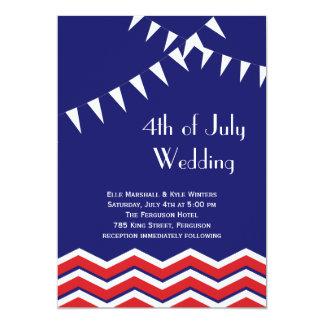 4th of July Wedding Invitation - Chevrons & Flags