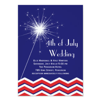 4th of July Wedding Invitation with Chevrons