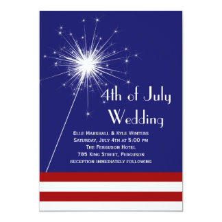 4th of July Wedding Invitation with Stripes