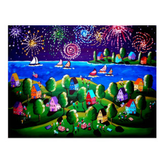 4th of July Whimsical Folk Art Post Cards