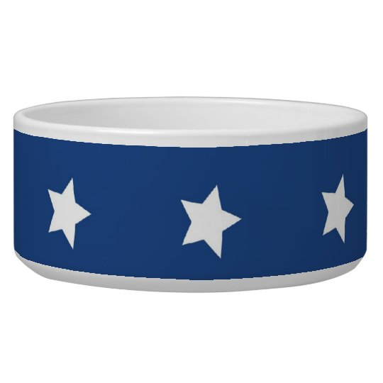 4th Of July White Stars on Navy Background Pattern Dog Bowls