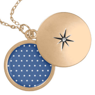 4th Of July White Stars on Navy Background Pattern Lockets