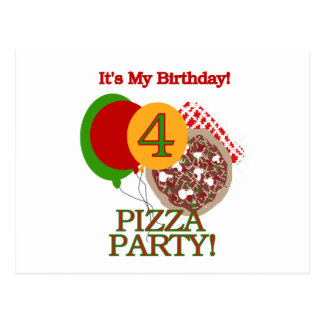 4th Pizza Party Birthday Tshirts and Gifts Postcard