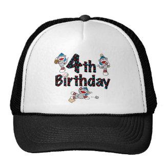 4th Sock Monkey Baseball Birthday Cap