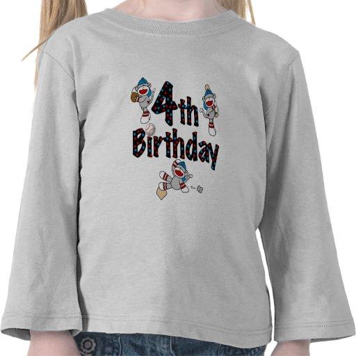 4th Sock Monkey Baseball Birthday Tshirts