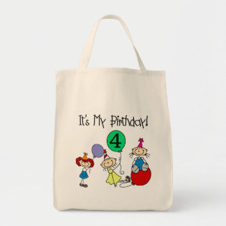 4th Stick Kids Party Birthday Tshirts and Gifts Grocery Tote Bag