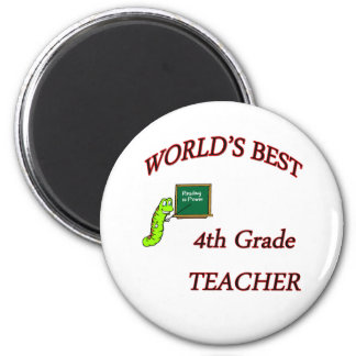 4th Teacher 6 Cm Round Magnet