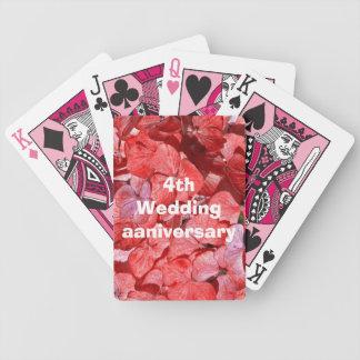 4th wedding anniversary - Hydranga Bicycle Playing Cards