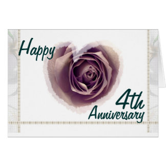 4th Wedding Anniversary - Purple Rose Heart Card