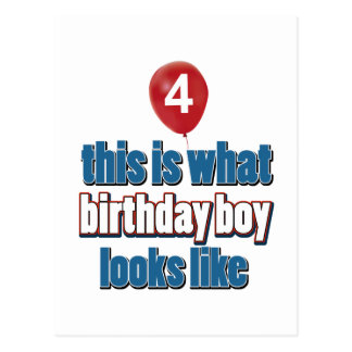 4th year old birthday designs postcard