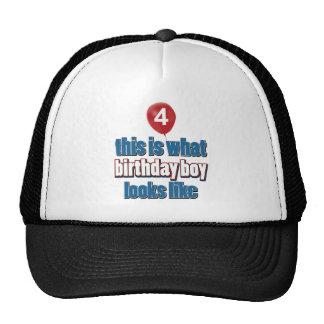 4th year old birthday designs trucker hat