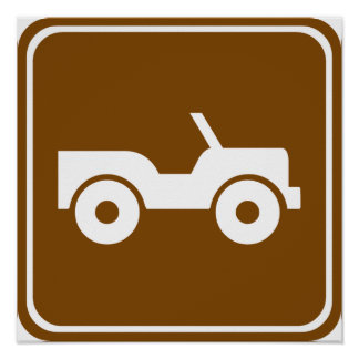 4WD Off-road Trail Highway Sign Poster
