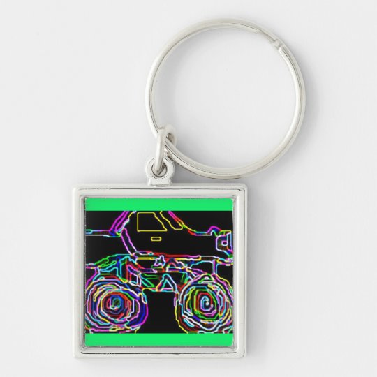 4x4  Ride Silver-Colored Square Key Ring