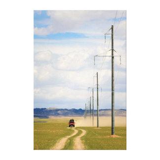 4X4 Vehicles On Dirt Road, Gobi Desert Canvas Print